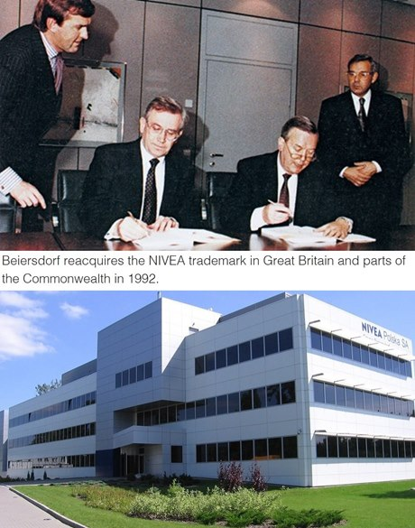 above: Board signing reacquisition of NIVEA trademark in Great Britain; below: NIVEA polska building in 1997