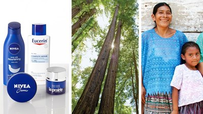 Photo collage Beiersdorf products, tress and a woman with a child Beiersdorf Sustainability